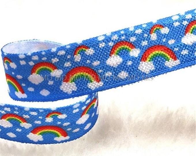 Rainbows & Clouds FOE Elastic Yoga Hair Ties and Headbands 1 metre lots