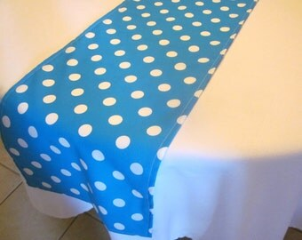 Turquoise and White Polka Dot Table Runner, Dr. Suess Party, Birthday Party, Wedding, Bridal Shower, Baby Shower,Cat in theHat Party