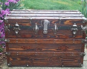 626 Restored Antique Flat Top Trunk w Working Lock & Key in a Mahogany Finish, Silvery Polished Heavy Duty Hardware, New Leather Handles