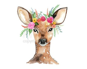 Woodland Flowers - Deer Addition - Boho Illustration Watercolor Painting Print - Home decor and wall art