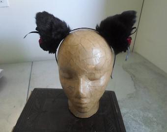 Kitty Ear Headband - Black with Red