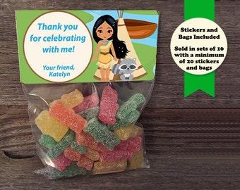 Pocahontas Favor Bags, Pocahontas Stickers, Native American Party Favors, Pocahontas Personalized Stickers, Pow Wow Party Favors