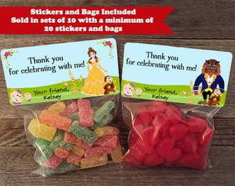 Beauty and the Beast Party Favor Bags, Beauty and the Beast Treat Bags, Princess Belle Treat Bags, Princess Belle Stickers, Belle Stickers