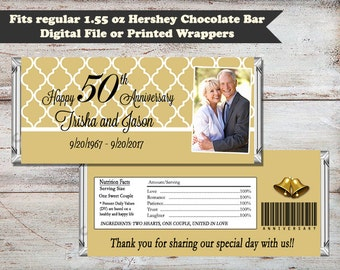 50th Wedding Anniversary Candy Bar Wrapper, Anniversary Candy Bar Wrapper, Anniversary Party Favors, 50th Anniversary, Digital or Printed