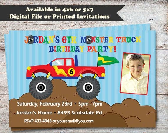 monster truck birthday party invitations monster truck party