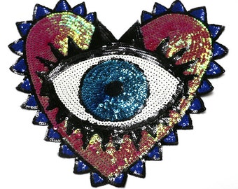 Big Eye sequins patch applique vintage embroidered patch clothing decoration patch appliqu