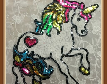 Horse sequined patch Large Sequin Horse Unicorn Applique Patch Motif Sweater sew on patch