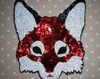 Fox sequined applique patch paillette embroidered patch T-shirt or Coat decoration patch