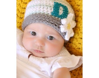 Crocheted monogrammed beanie, personalized baby beanie, baby gift, photo prop, newborn hat, baby accessory