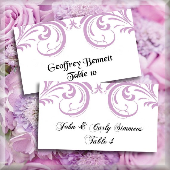 lilac purple swirls printable flat escort place cards editable