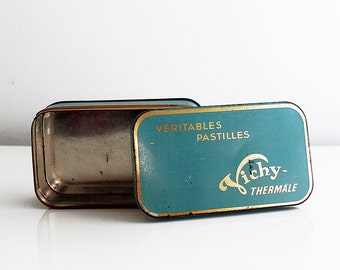 Advertising medical French Tin box. Vichy. Vintage tin. Pastilles. Vintage box. French vintage. French tin. Storage tin. // D500