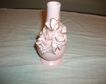 Vintage Pink Rose Vase