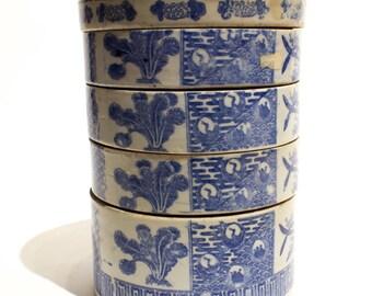 Blue and White Ceramic Bento Box