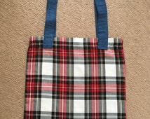 Handmade White Tartan & Denim Tote Bag, Shopper, Shopping, Re-usable Bag