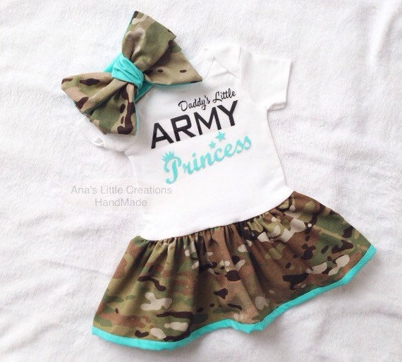 Daddy's Little Army Princess Multicam Body Suit Dress, Army Baby Dress Mint Trim and Self Tied Headwrap/Headband Mint