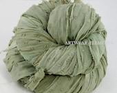 Sari Silk Chiffon, Vintage Vanity Muted Moss, Fair Trade, 5 Yards, Textile Fiber, Yarn, Crochet Yarn, Bracelet Ribbon, Silk Fabric 123