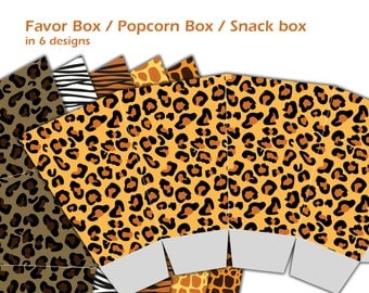 Safari Party Favors, Safari Birthday Party Snack Box, Popcorn Box, Jungle Baby Shower, DIY Printable Candy Box - INSTANT DOWNLOAD