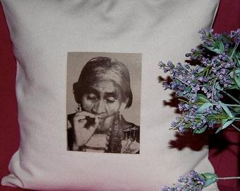 Maria Sabina Photo- Handmade Pillow - Sepia on Linen Cotton