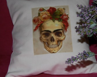 Day of Dead Skull - Handmade Pillow - Sepia on Linen Cotton