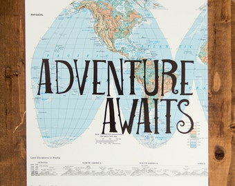 """North and South America Map Print, Adventure Awaits, Great Travel Gift, 8"""" x 10"""" Letterpress Print"""