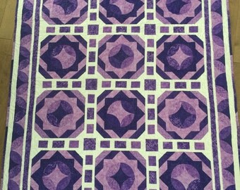 Modern Purple Lap/Throw or large Baby girl quilt  Purple and White Circle Quilt