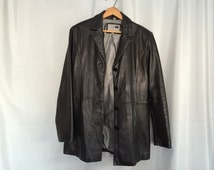 Black Leather Jacket Coat Vintage Women's Medium