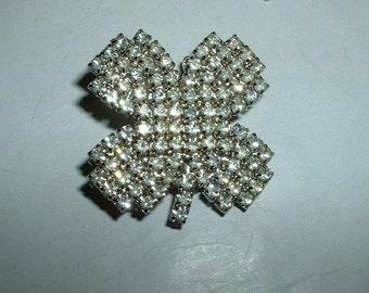 Vintage rhinestone lucky four leaf clover brooch