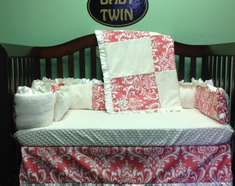 4pc Standard Crib Bedding Set - Coral damask