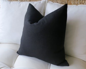 Black Linen Pillow Cover, Solid Pillow Cover, Euro Sham, Pillow Sham, Modern Pillow, 18 x 18,  20 x 20, 22 x 22, 24 x 24, 26 x 26
