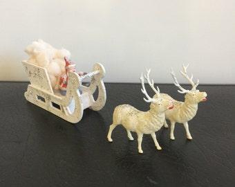 Vintage Cardboard Santa Sleigh With Two Celluloid Reindeer Putz Style