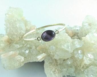 Simple breeze bracelet, silver Amethyst bracelet, sterling silver bangle, Amethyst bracelet with hook, handmade purple gemstone bracelet