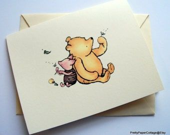 Winnie the Pooh, Piglet, Notecards, Invitations, Thank You Cards, Baby Shower, Birthday Party, Set of 6 or 12