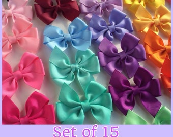 "3"" Solid Color Pinwheel Bows, Set of 15 Hair Bows, Pick your colors"