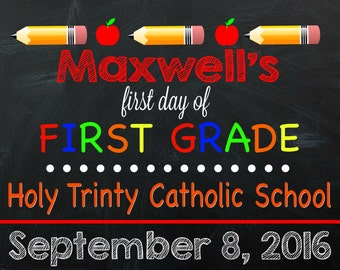 First Day of First Grade Sign - FIRST GRADE SIGN - First Grader - First Day of School Sign - Any Grade!! - Digital File - First Grade Sign