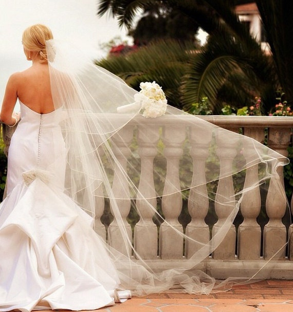Veil, Silk Edge Veil, Cathedral Length veil, Cascade veil,  Satin Ribbon Trim Veil, Long Veil, - The NICOLE Cascade Veil
