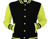 Neon Yellow & Black Varsity Jacket Noir College Letterman Coat Baseball Top American Fashion Clothing University Womens Mens Outfit Electric
