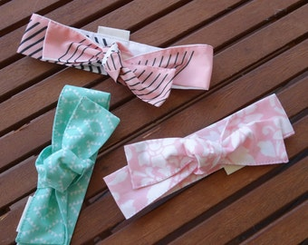 Top Knot Headbands: Blush floral, bright mint diamonds and blush stripe - Set of 3