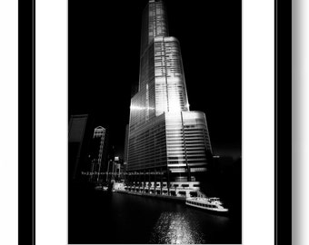 TRUMP TOWER, Chicago,  Architecture, Black and White Photography, Chicago River, OFFICE  Wall Decor, Home Decor.