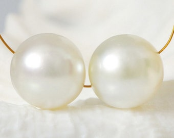 SOUTH SEA PEARLS Pair Round Cream Maluku Indonesia 14 mm fully drilled 7.27 g