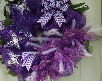 Purple Mesh Wreath White Butterflies