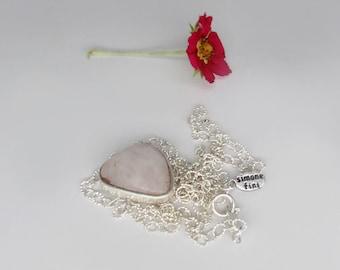 pink morganite necklace, natural pink morganite necklace, sterling silver bezel set morganite necklace, light pink necklace, beryl necklace