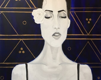 Pensive Black and White Portrait with Gold and Navy Pattern