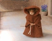 Felted Mouse, Franciscan Friar with Brown Robes, Felt Animal Sculpture