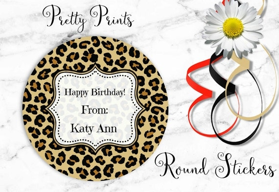 Leopard Print Stickers - Personalized Stickers - Animal Print - Set of 12 Round Labels - Cheetah Print - Personalized Labels - Tags