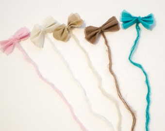 Linen Bow Baby Tieback Headband, Newborn Photo Prop, 5 Colors, READY to SHIP, Baby Shower GIft, Baby Photo Prop.
