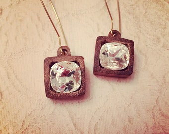 Crystal Clear 12mm CushionCrystal set in Wooden charm, with Gold Plated Kidney Wire Hook, Earrings dangle ~2.2 inches