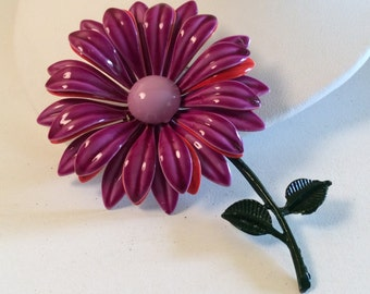 Vintage Purple and Red Layered Flower Power Brooch