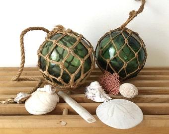 Vintage Glass Floats, Colored Glass Float, Collectible Beach Float, Green Glass Float, Glass Float with Net, Beach Decor