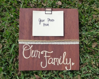 Hand Painted Wooden Sign/Picture Display: Our Family