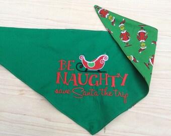 Reversible Custom Christmas dog scarf